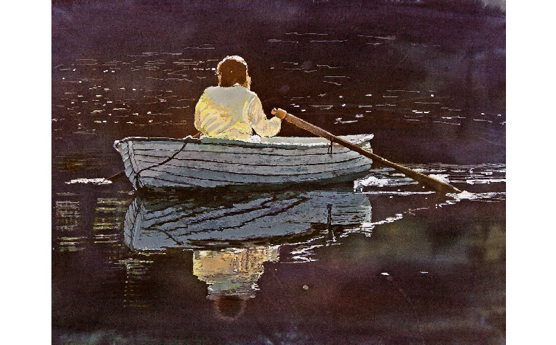 Evening Row, person rowing, reflections in water, rowing ...