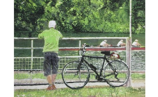 Man and Bicycle by the River Thames