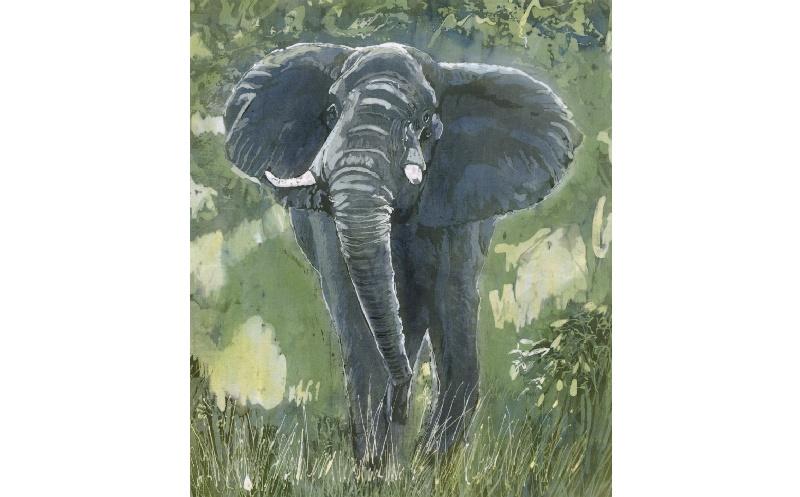 Batik painting of an elephant charging