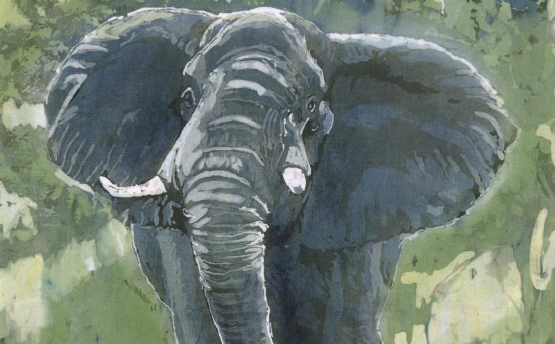 Batik painting of an elephant charging close up